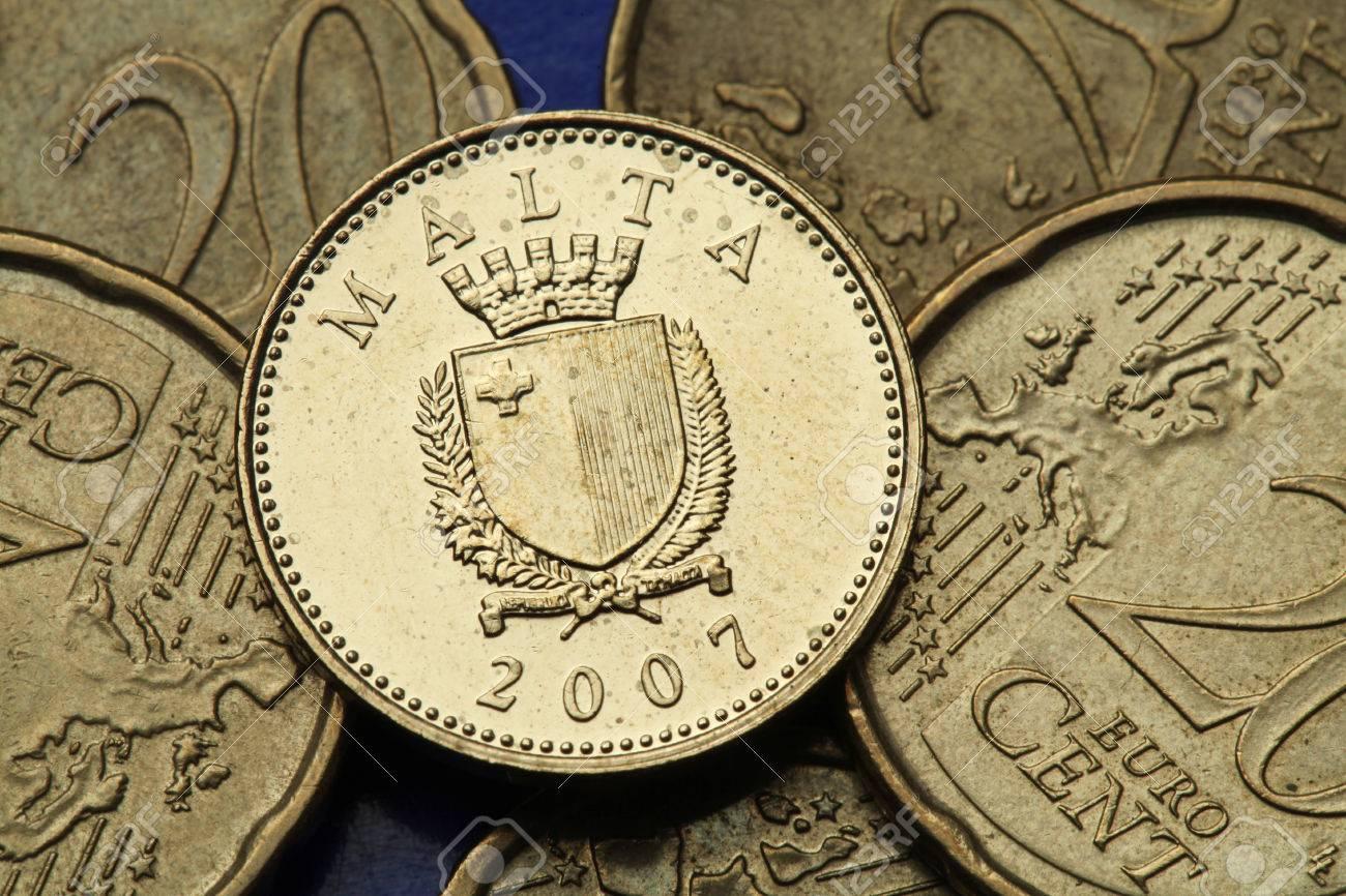 Münzen Von Malta Maltese Staatswappen In Der Alten Maltesischen Ein