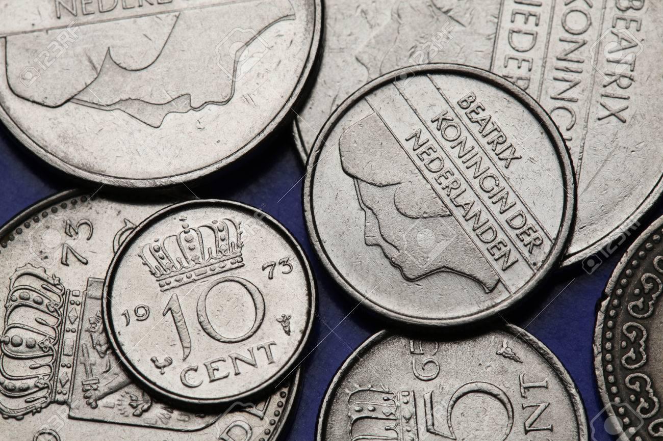 Münzen In Den Niederlanden Stilisierte Porträt Der Königin Beatrix