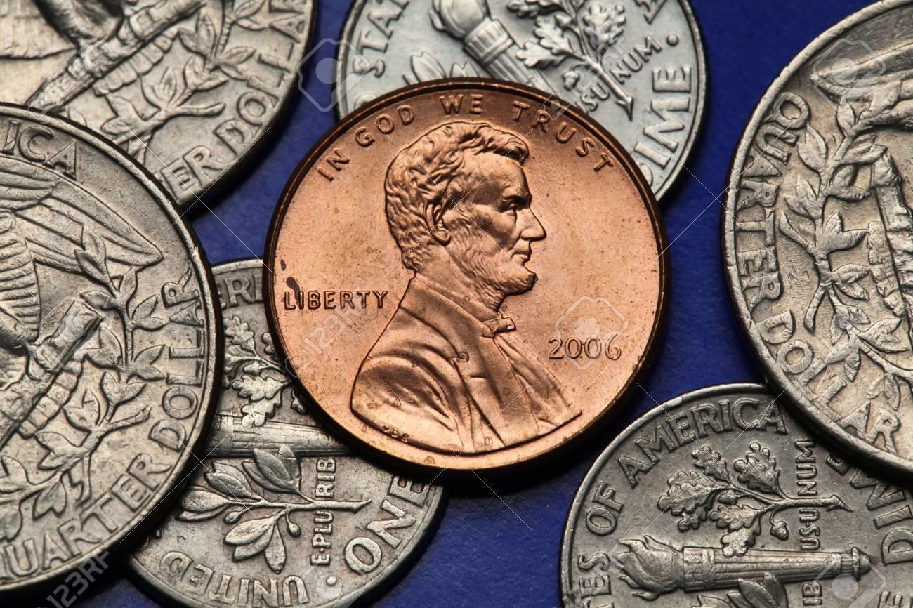 Münzen Der Usa Abraham Lincoln Dargestellt Auf Dem Us Cent Münze