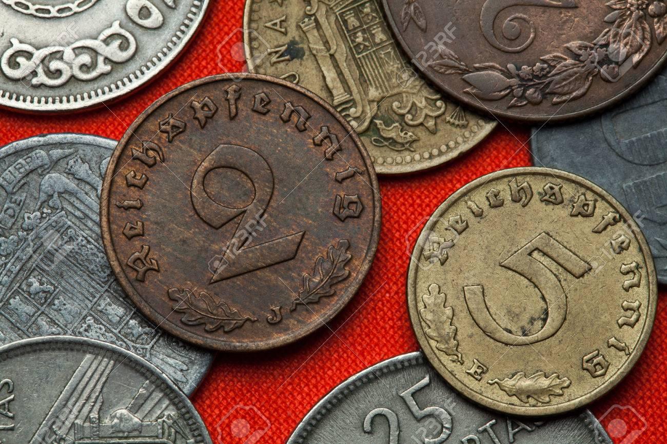 ナチス ・ ドイツの硬貨。ドイツ語 Reichspfennig コイン (1938 年 ...