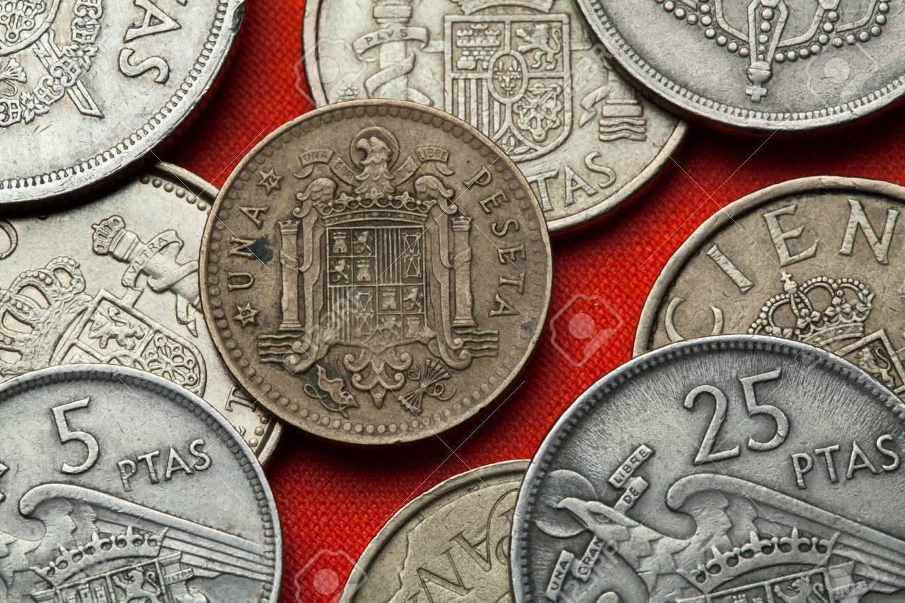 Münzen Von Spanien Wappen Von Spanien Unter Franco Dargestellt In