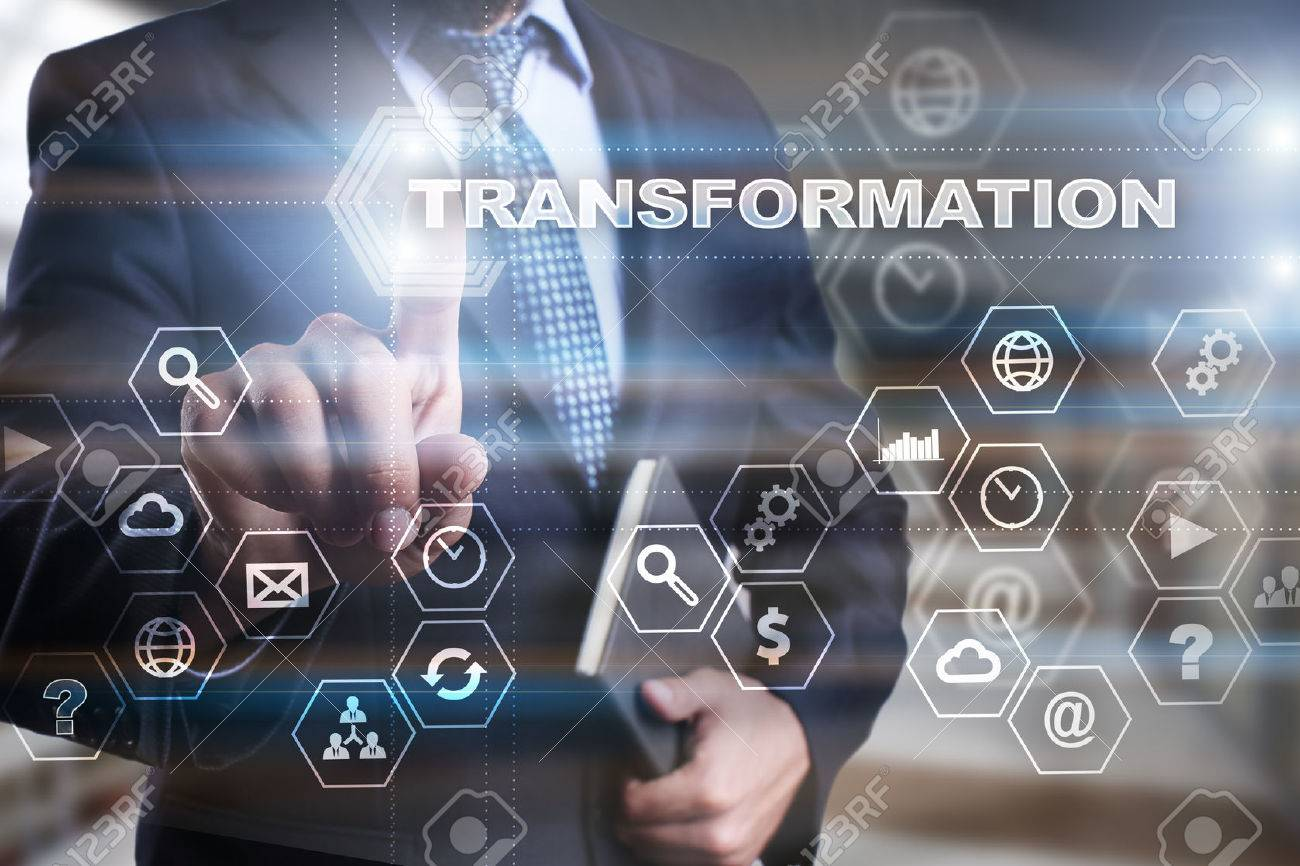 """Businessman is pressing on the virtual screen and selecting """"Transformation"""". - 62328687"""