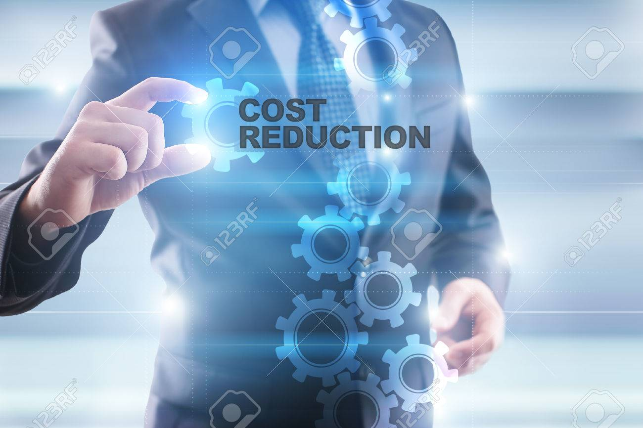 Businessman selecting cost reduction on virtual screen. - 65795150