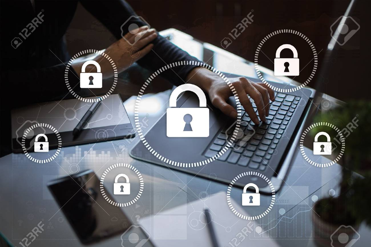 Cyber security, Data protection, information safety and encryption. internet technology and business concept. Virtual screen with padlock icons. - 89531340