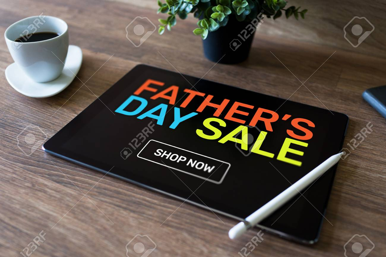 Fathers Day Sale Banner On Mobile Device Screen Online Shopping And