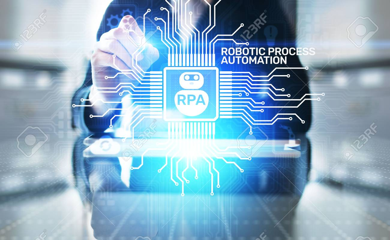 RPA Robotic process automation innovation technology concept on virtual screen. - 119977663