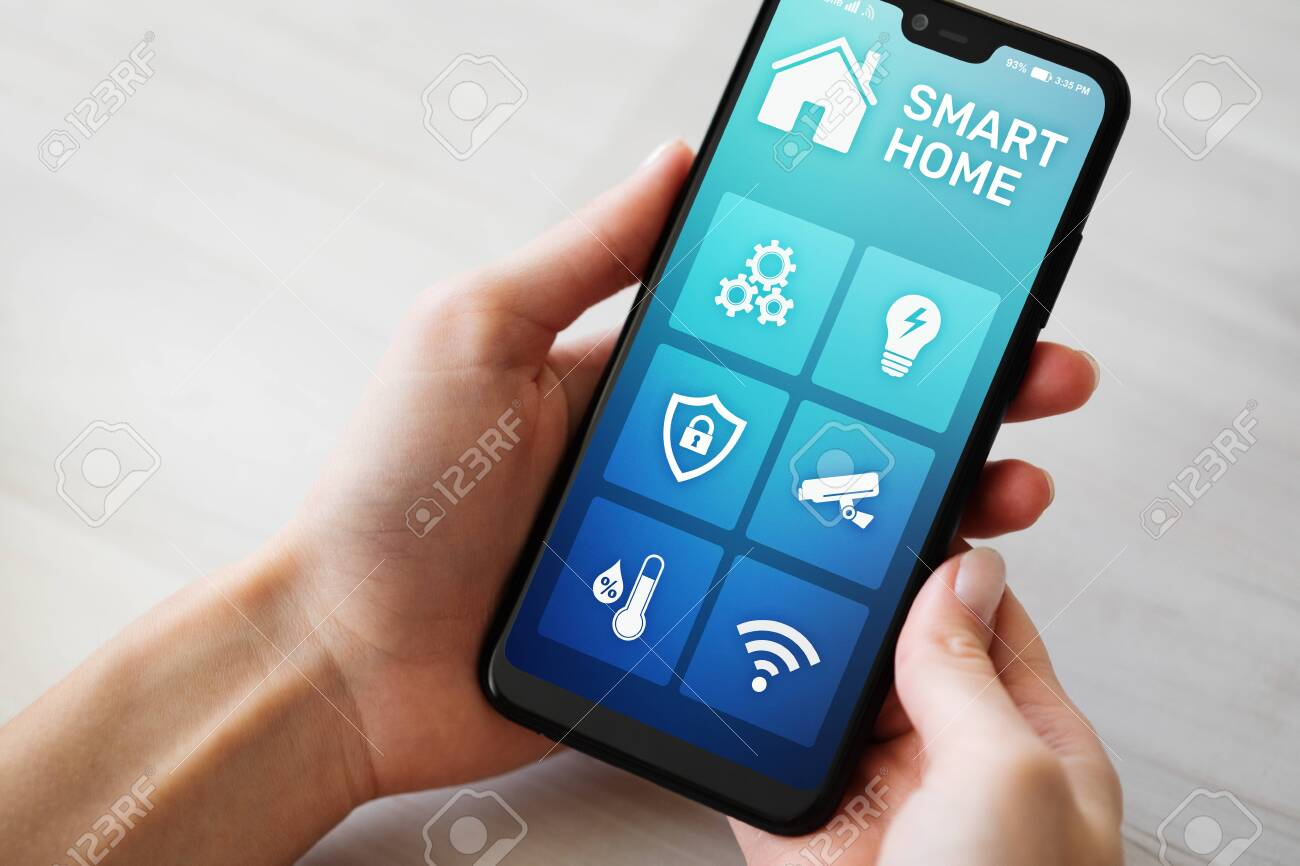 Smart home control application on mobile phone screen. Automation and iot concept - 120867332