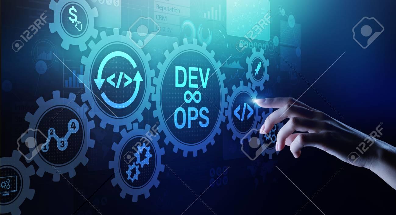 DevOps Agile development concept on virtual screen. - 120789125