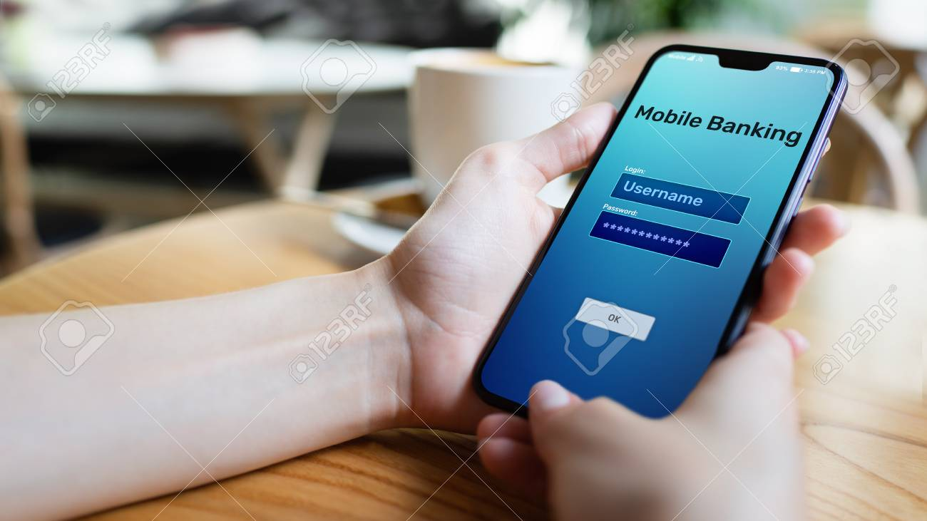 Mobile banking internet payment application on smartphone screen. - 121162865