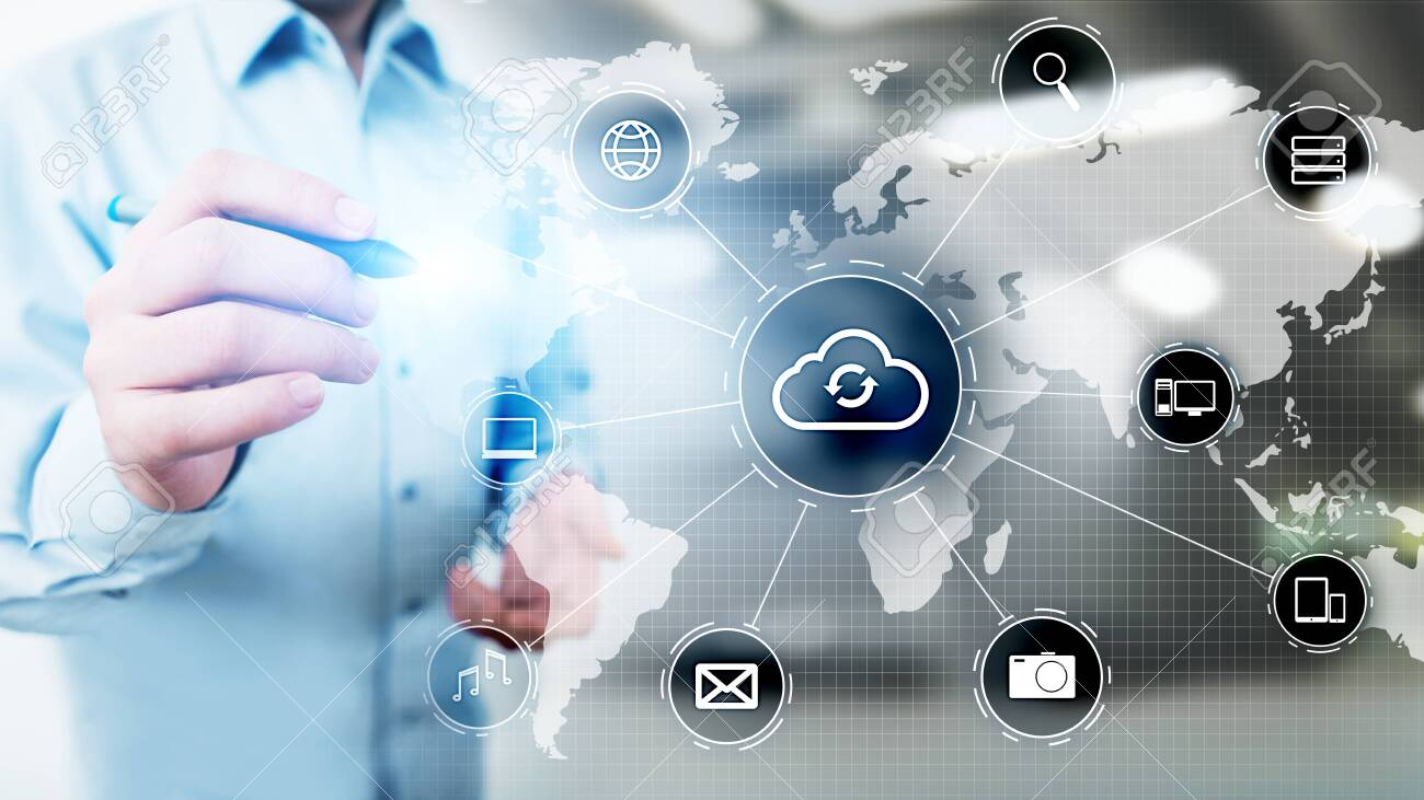 Cloud technology computing, internet and networking concept on virtual screen. - 121163250