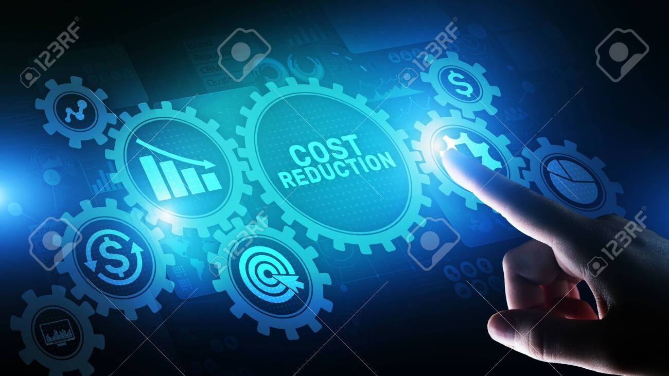 Cost reduction business finance concept on virtual screen. - 122428706