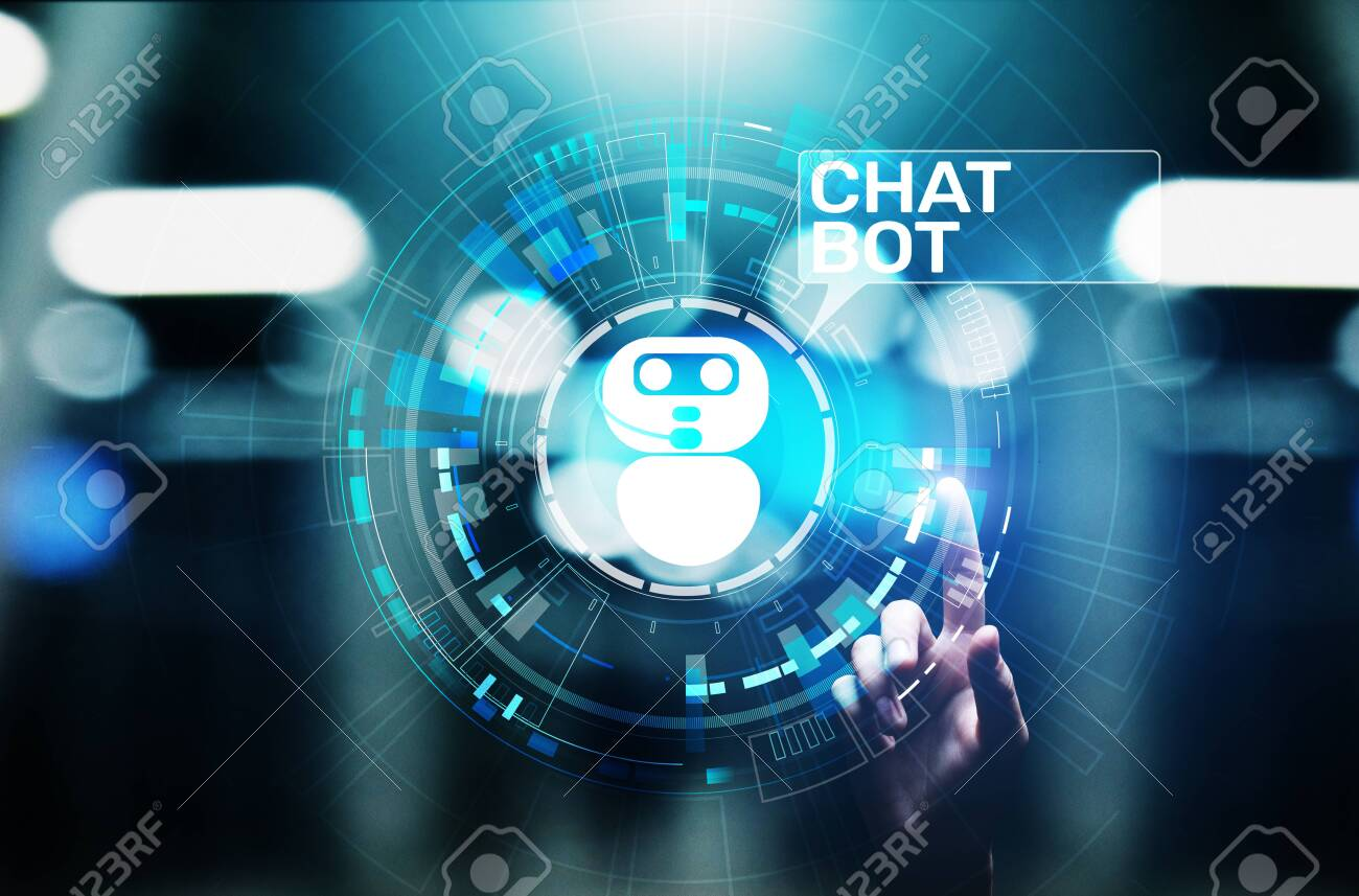 Chatbot computer program designed for conversation with human users over the Internet. Support and customer service automation technology concept. - 128823381