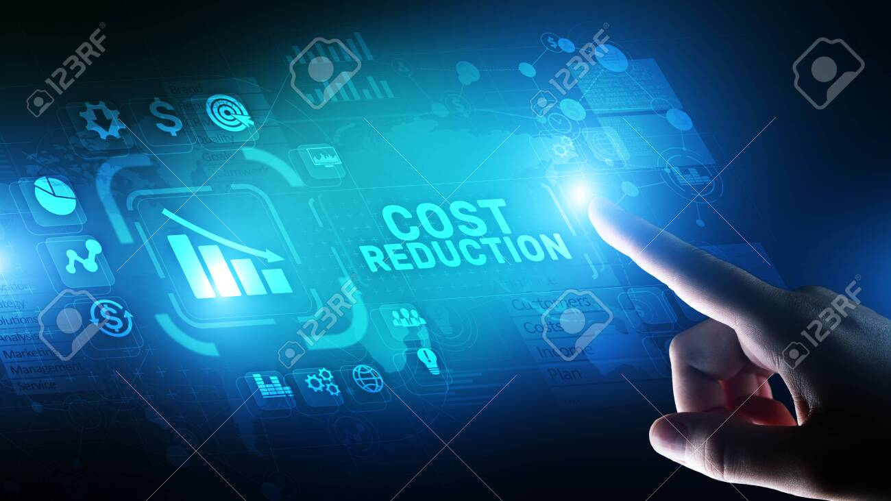 Cost reduction business finance concept on virtual screen. - 130498140