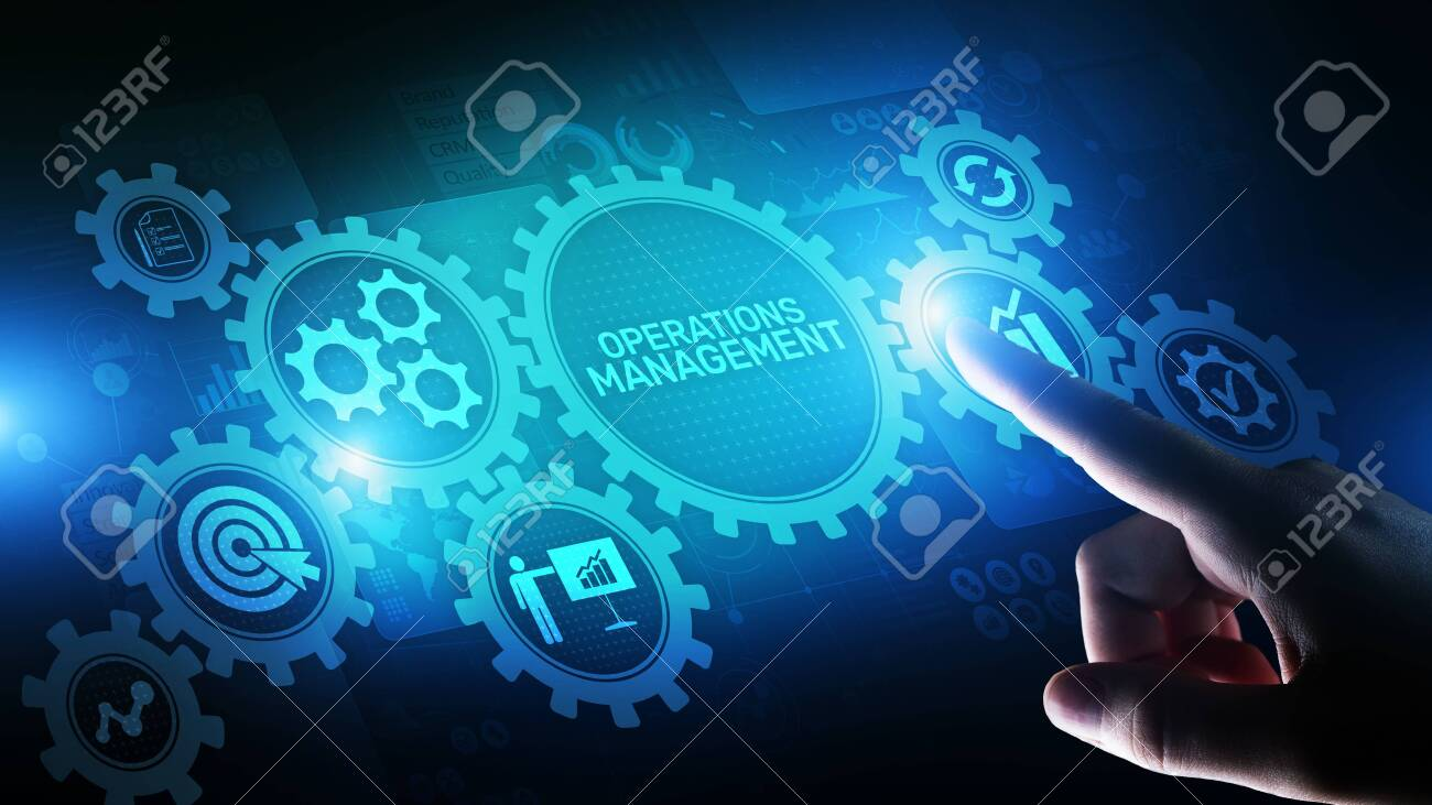 Operation management Business process control optimisation industrial technology concept. - 131078497
