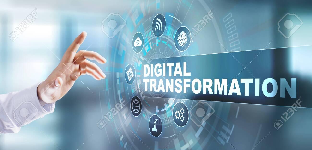Digital transformation digitalization disruption innovation technology process automation internet concept. Pressing button on virtual screen. - 132208910