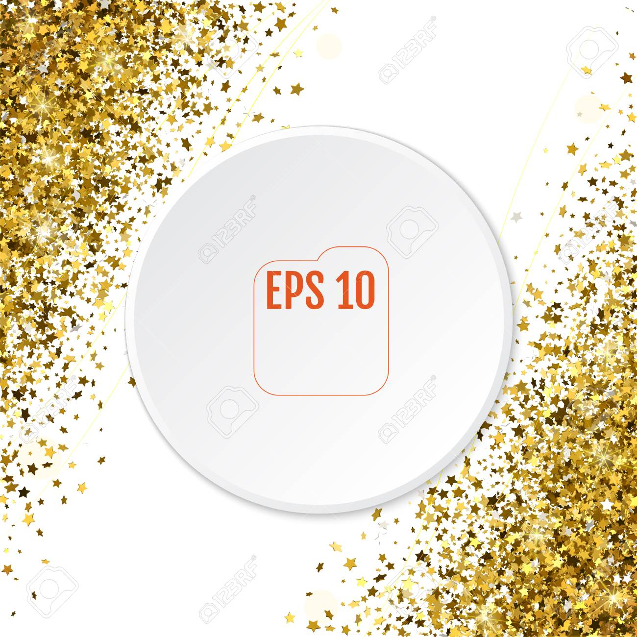 abstract pattern of random falling 3d gold stars on white background glitter template for banner