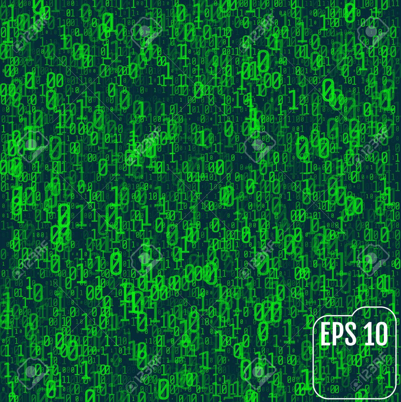 Background In A Matrix Style. Falling Random Numbers. Green Is ...