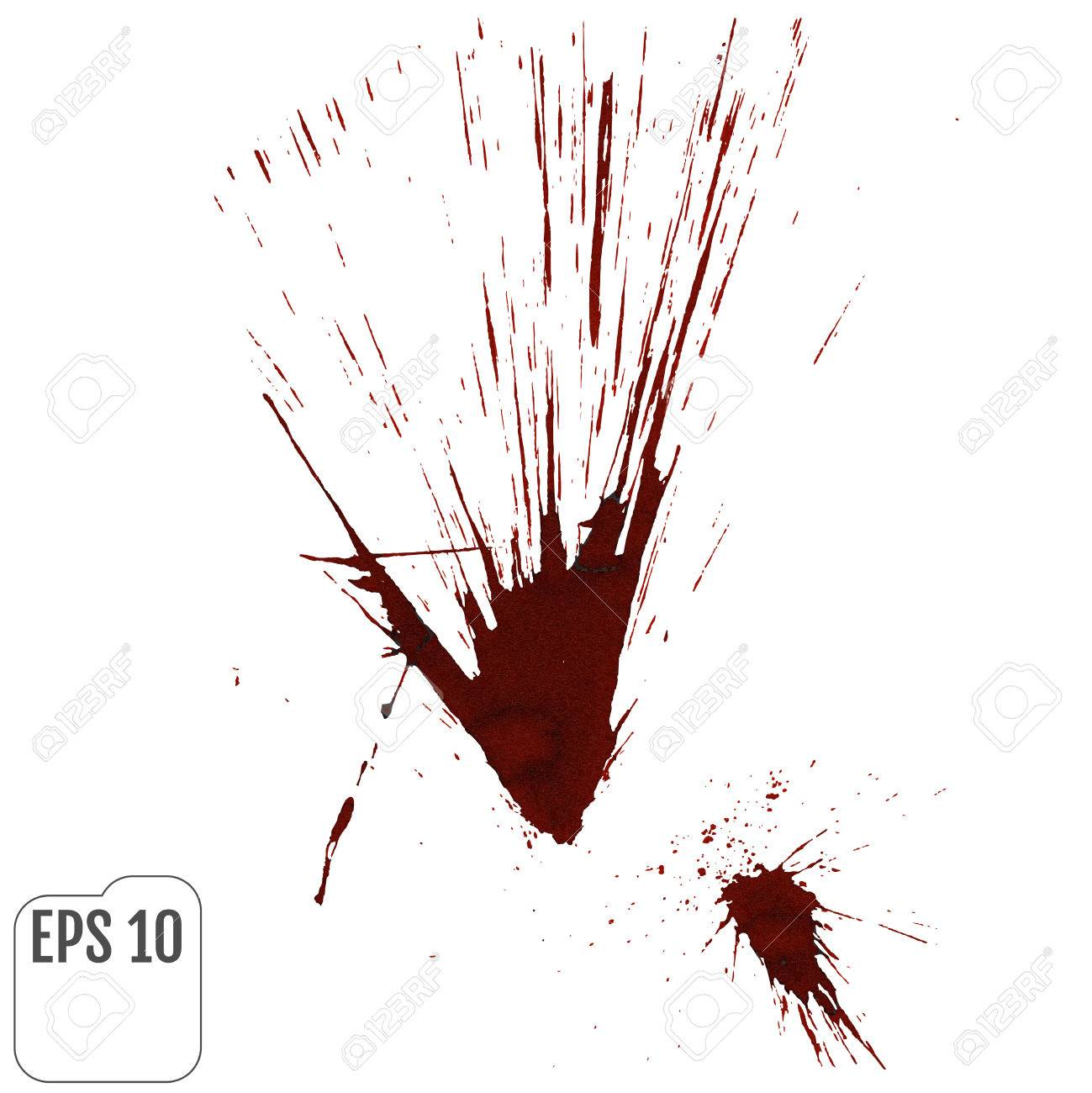 A Blood Splatter Graphic On White Vector Stock
