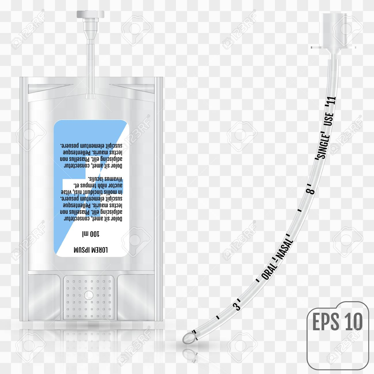 Realistic Intravenous fluid and tracheal tube without cuff on transparent background. Infusion system and tracheal tube without cuff - 89879355