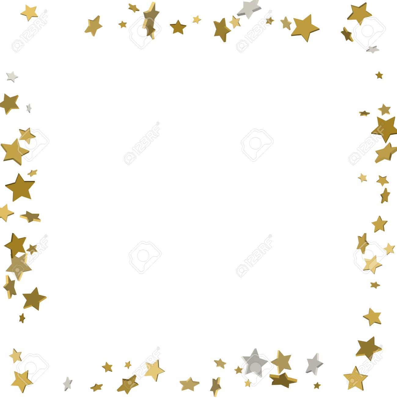 3d Gold Frame Or Border Of Random Scatter Golden Stars On White