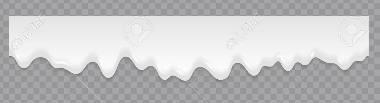 Milk or cream liquid splash flowing background. Seamless texture. Repeat vector white milk splash or ice cream flow soft texture on transparent background - 112776009