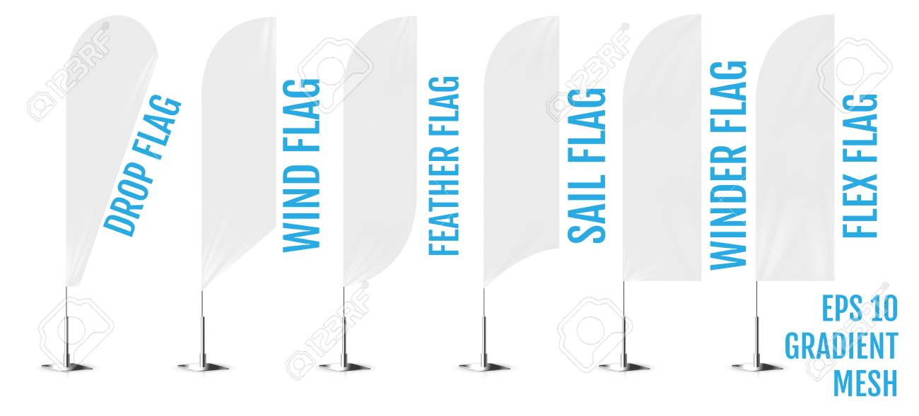 Realistic white banner flags 3d mockup  Textile waving advertisement