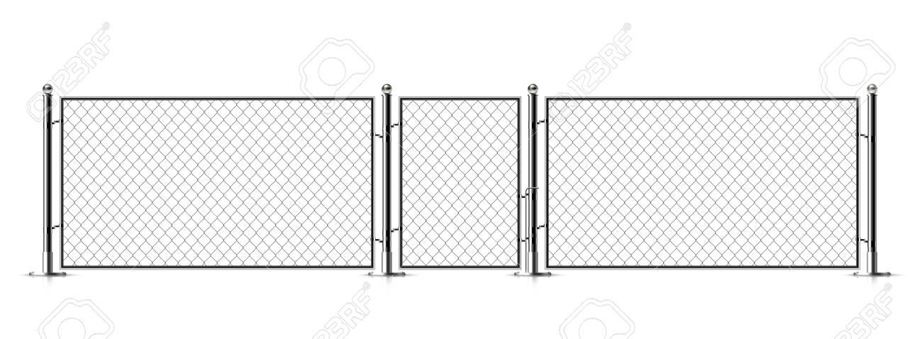 Realistic Metal Chain Link Fence Rabitz Art Design Gate