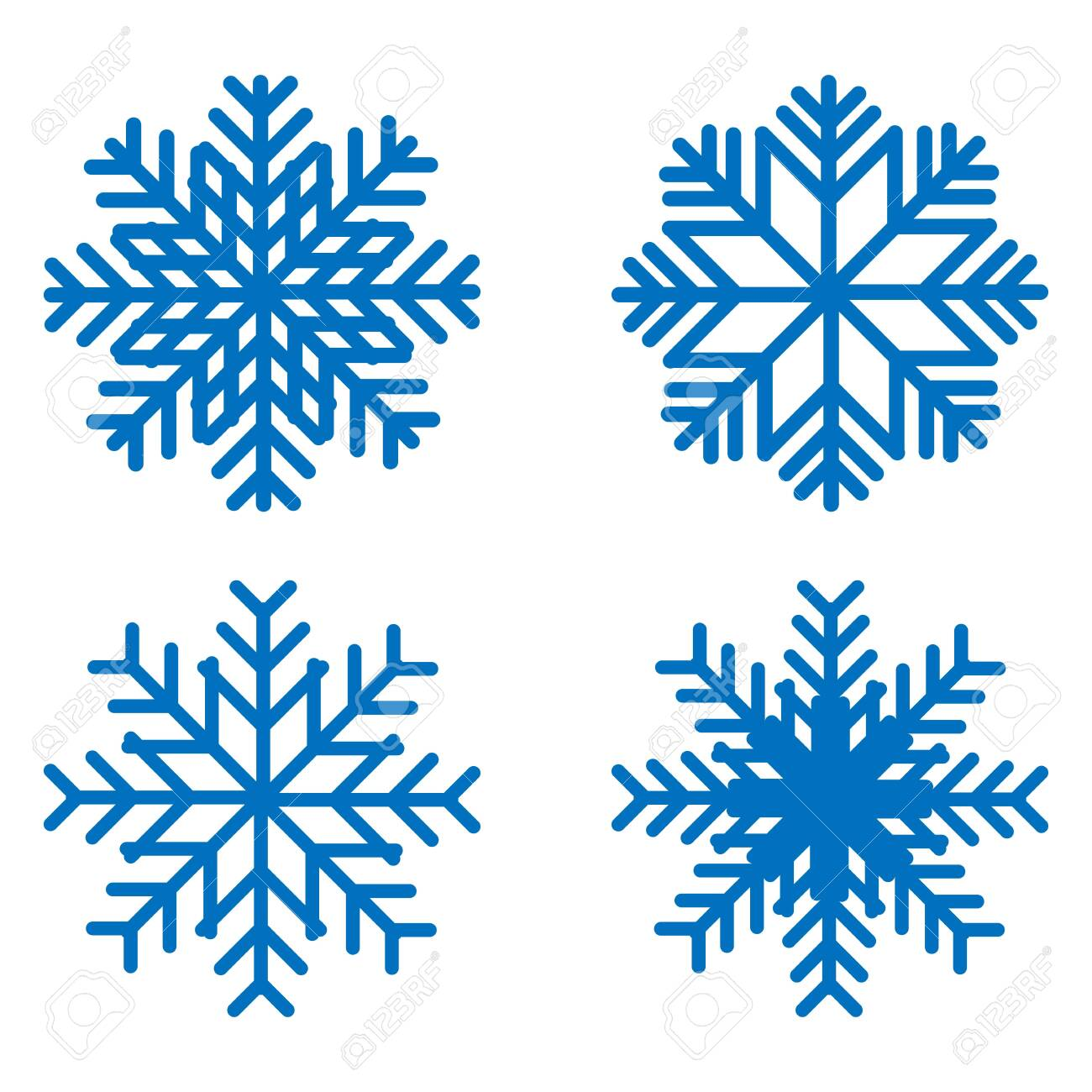 Snowflake icons kit. Set of vector snowflakes. Flat icons. - 125646702