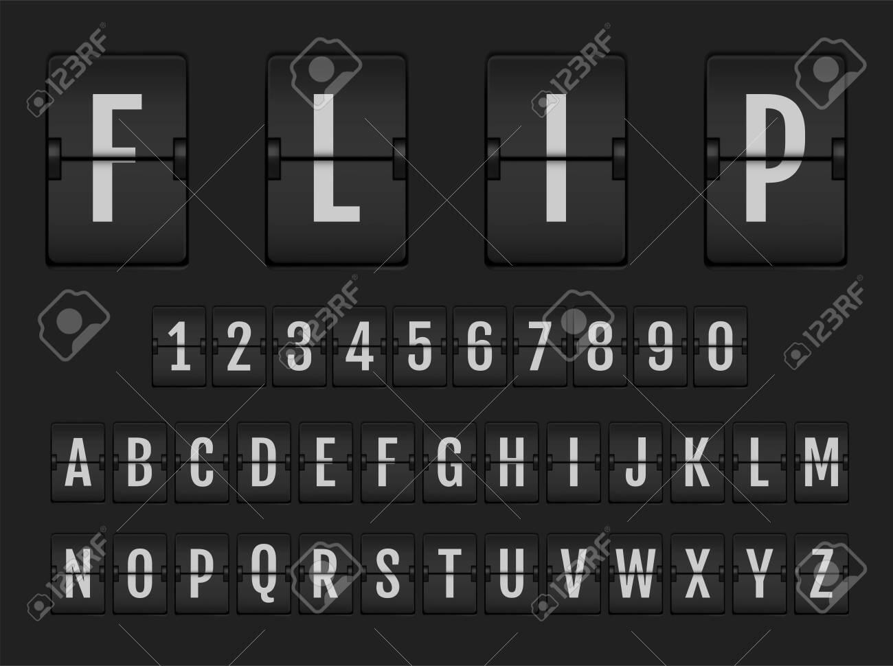 Flip countdown digital calendar clock numbers and letters. Vector alphabet, font, airport board arrival symbols. - 125998286