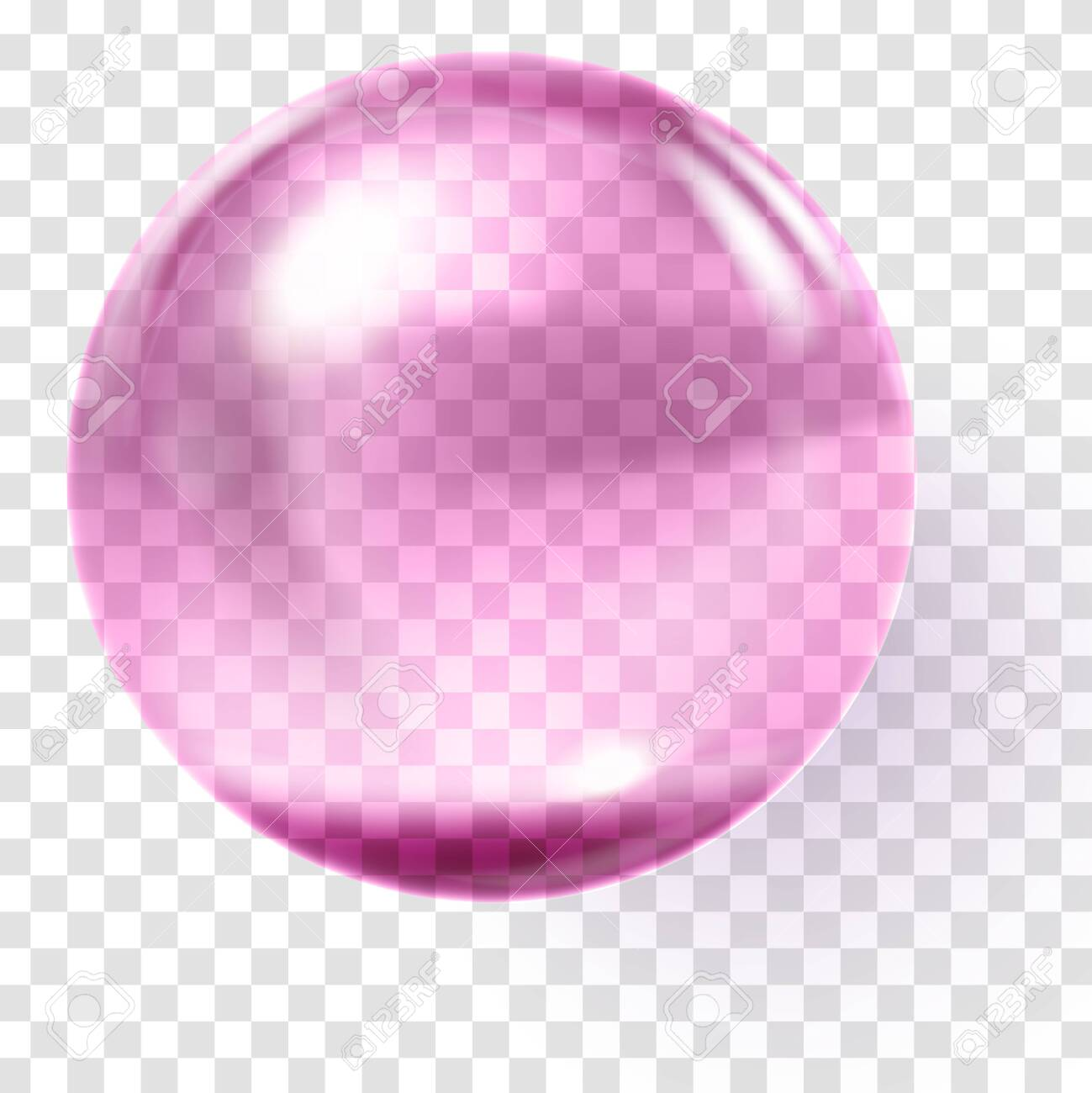 Realistic pink glass ball. Transparent pink sphere - 131696646