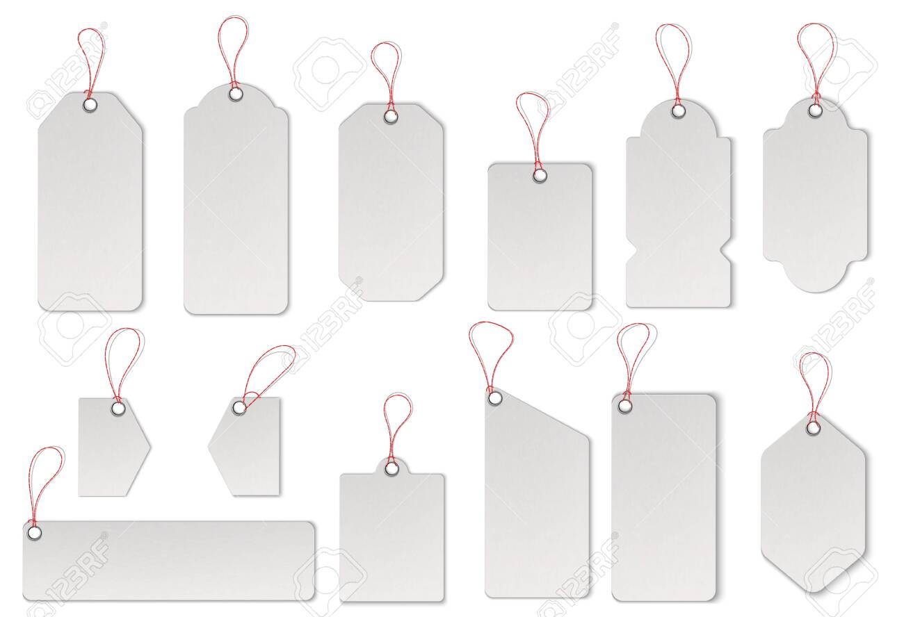 Realistic textured sell tags with ropes. Vector. - 138652820