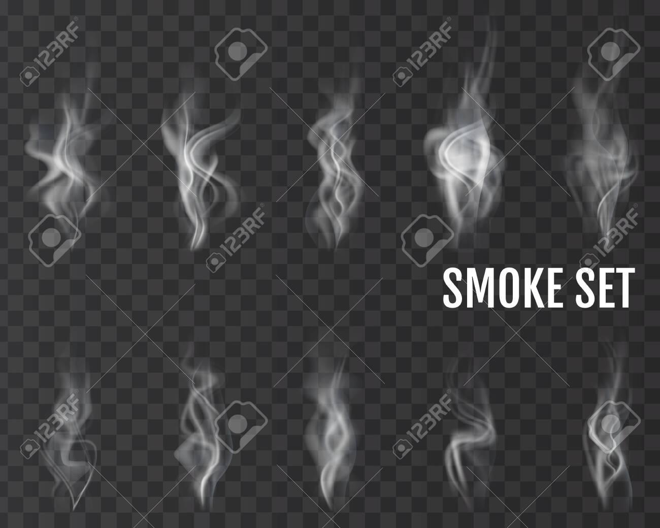 Realistic cigarette smoke waves. Vector. - 156872000