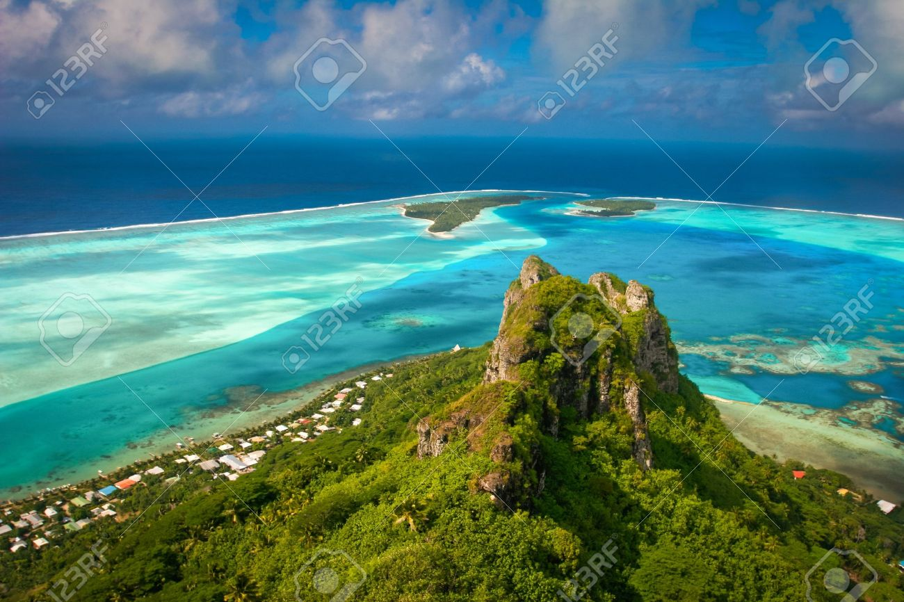 View on the peak mountain, Maupiti, French Polynesia     , Society Islands Stock Photo - 12525948