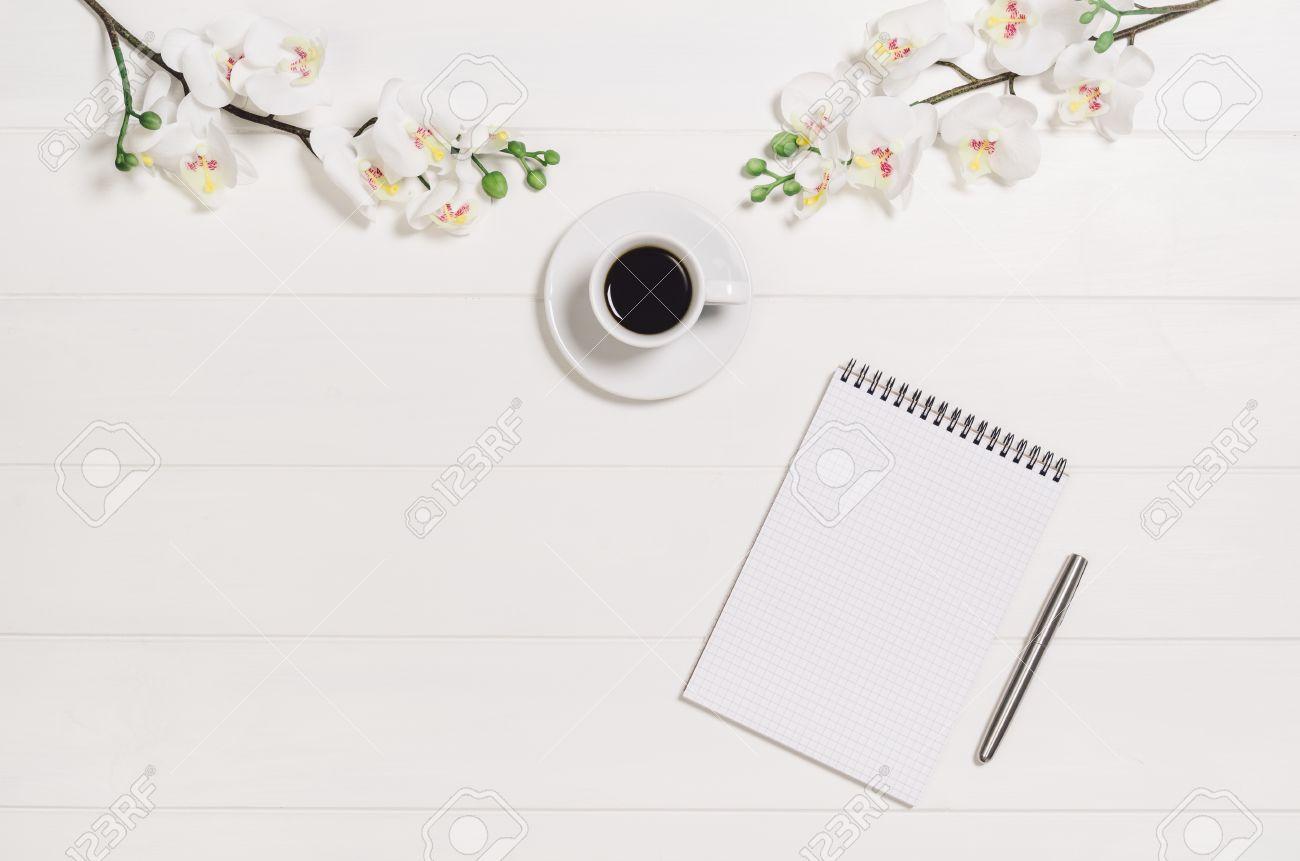 Stunning Feminine Elegant Womanus White Wooden Table Desk Or Workspace With Feminine  Desk.