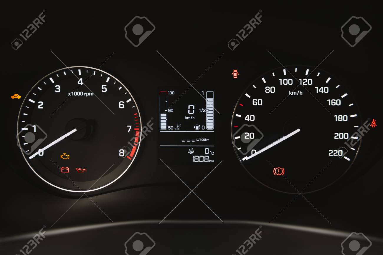 Car Instrument Panel Dashboard Closeup With Visible Speedometer Stock Photo Picture And Royalty Free Image Image 70018544