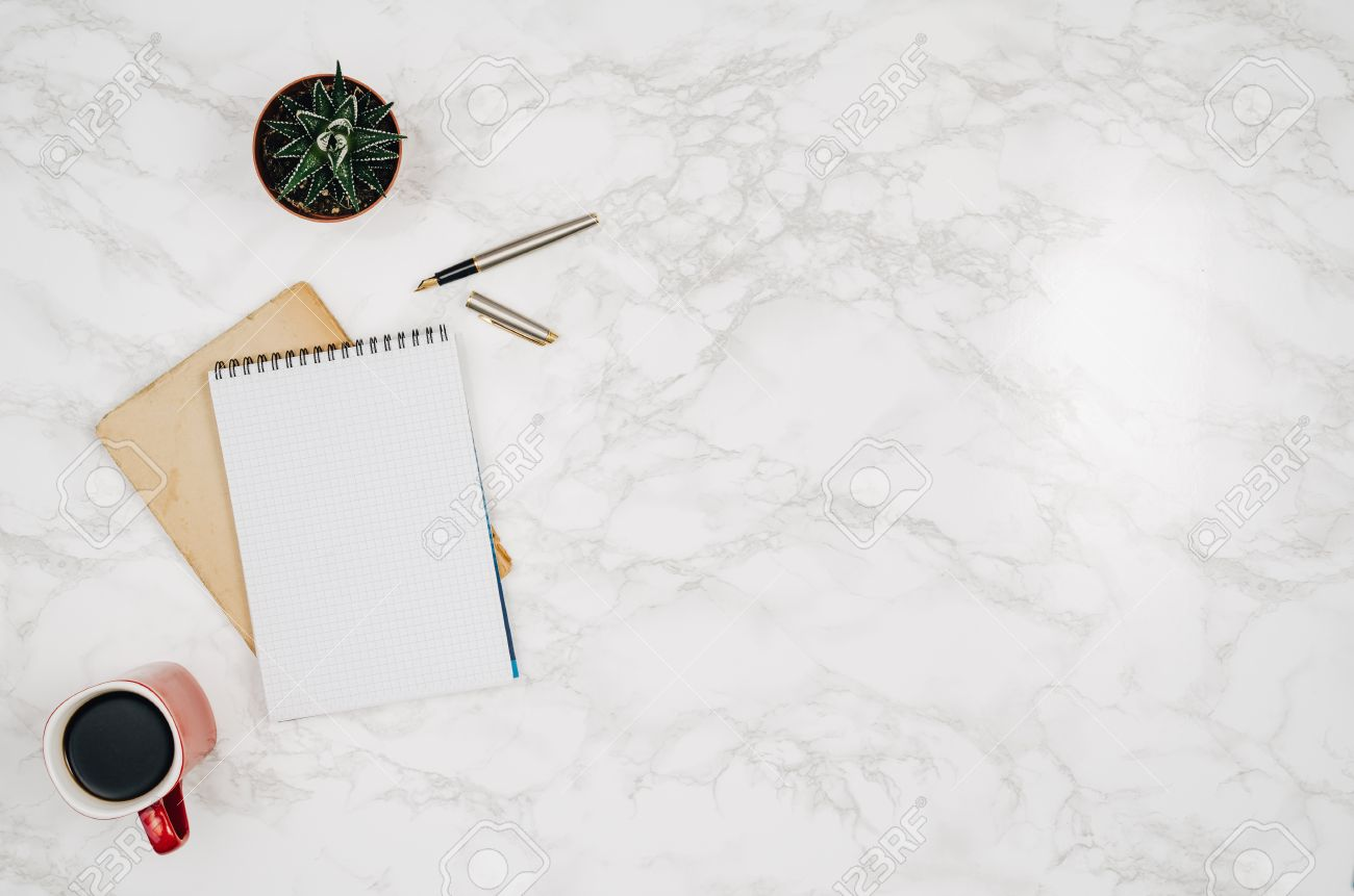 Blank Notebook Page On White Marble Table Background. Image Taken ... for White Marble Table Top View  535wja