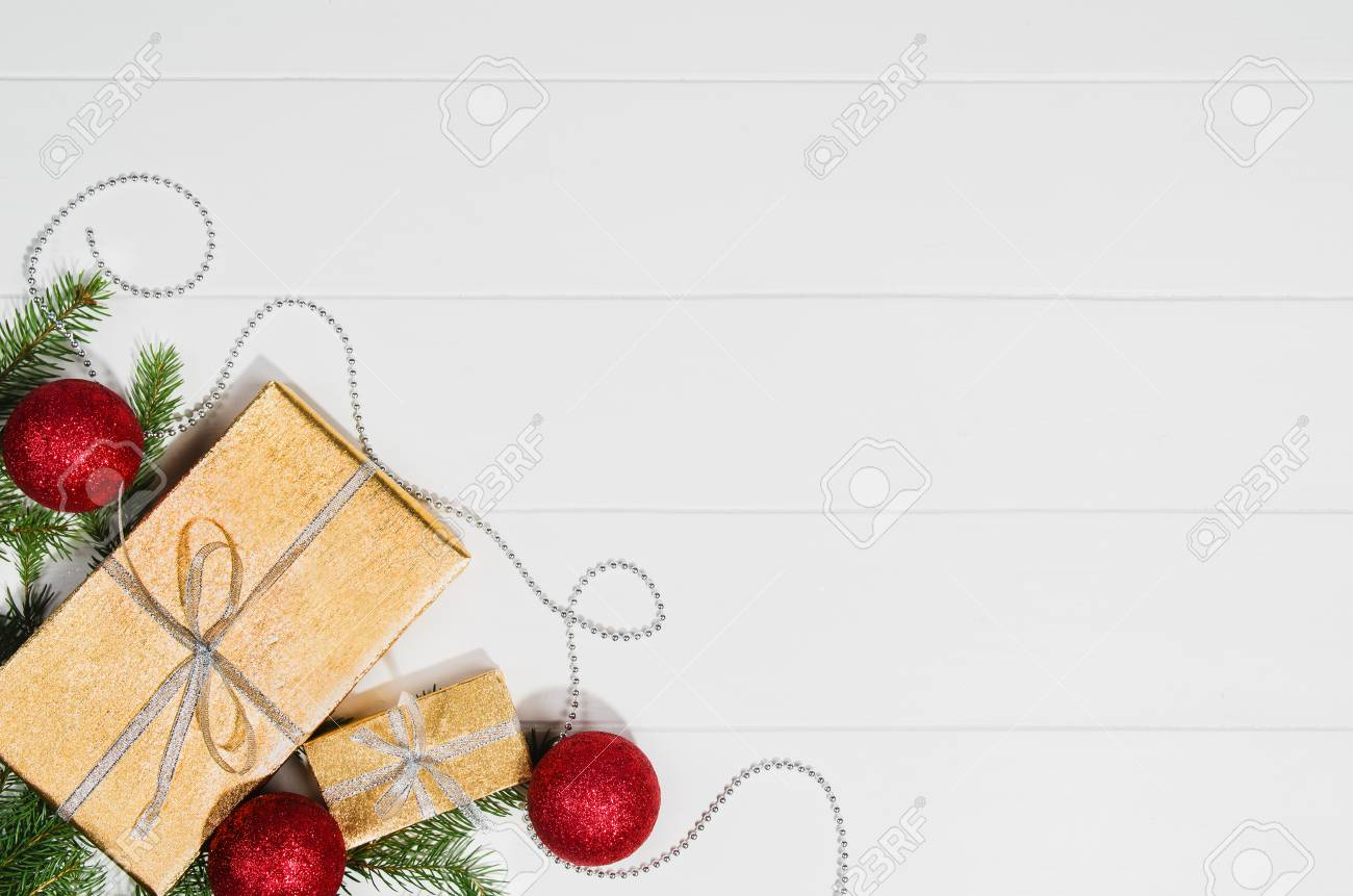Christmas Background Frame Top View On White Wooden Plank Table ...