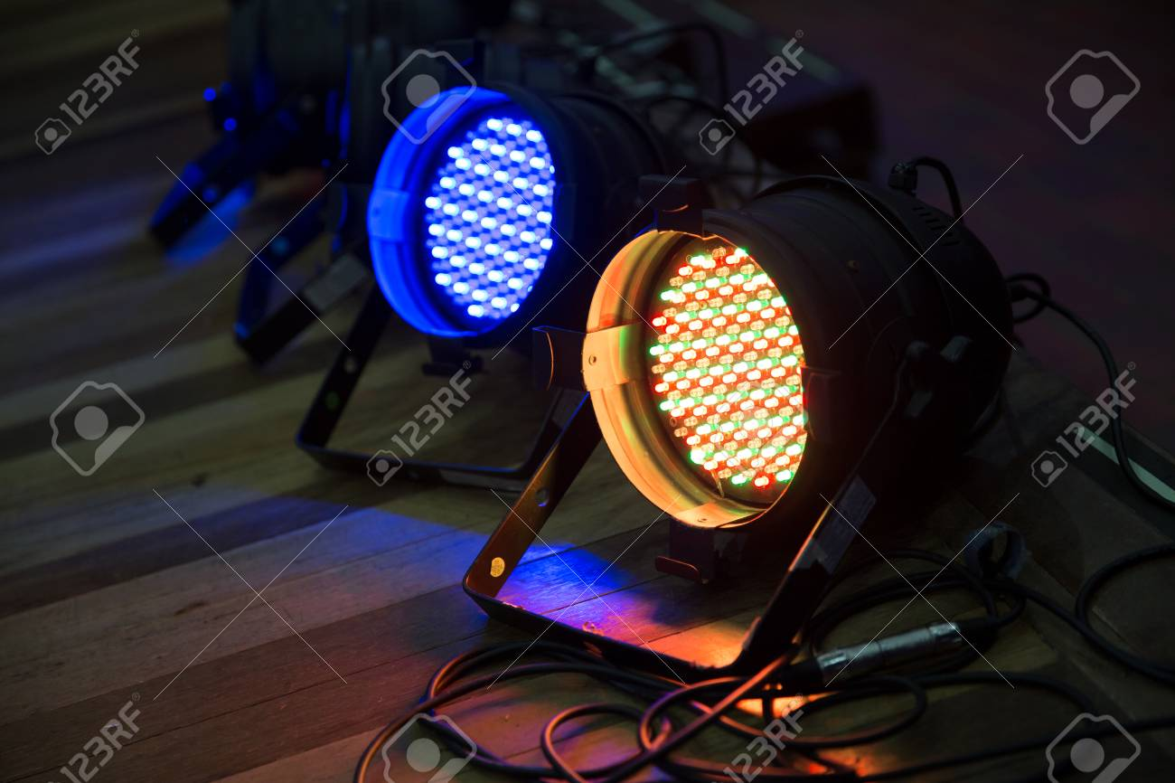 stage floor blue and yellow lights close up lighting equipment