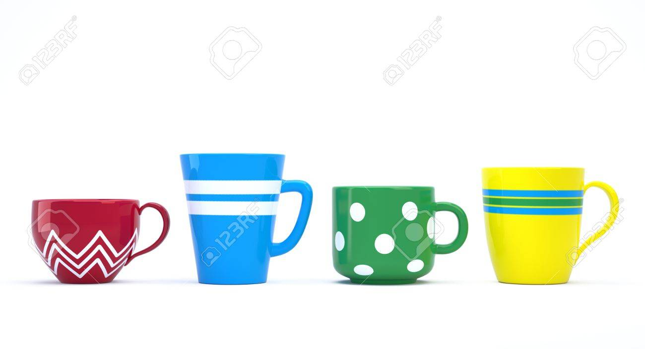 Funny colorful ceramic cups in a row 3D image Stock Photo - 12842515