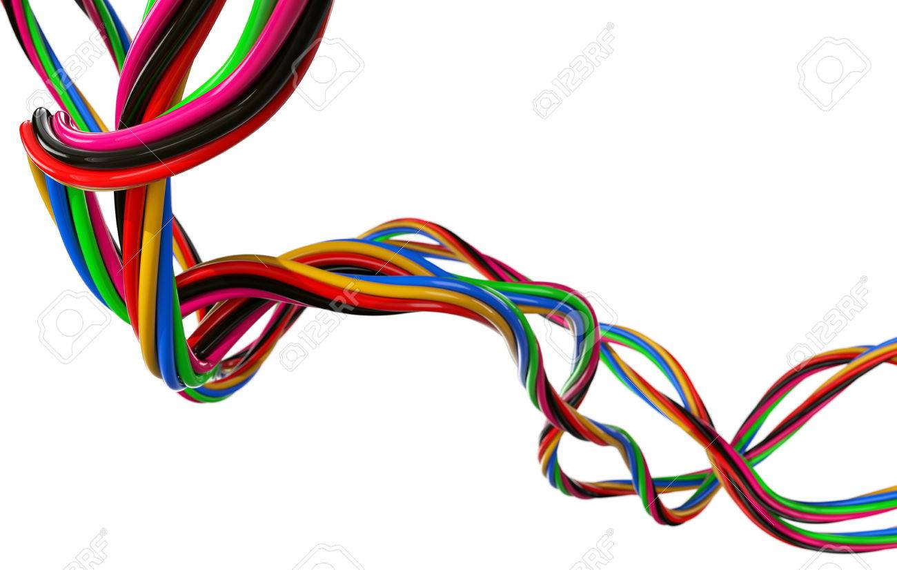 Electrical Wires On White Stock Photo, Picture And Royalty Free ...