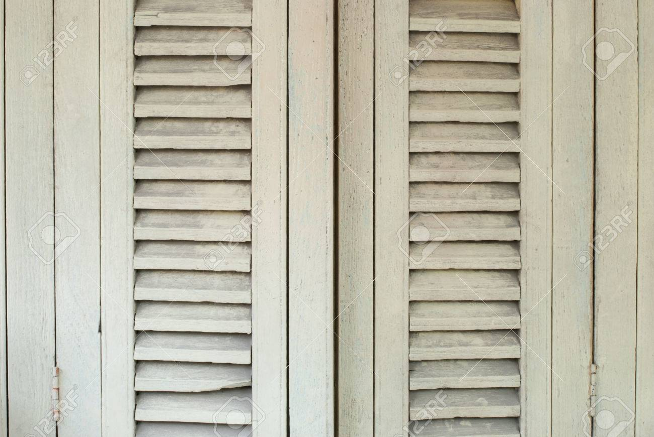 Old White Wooden Window Shutters