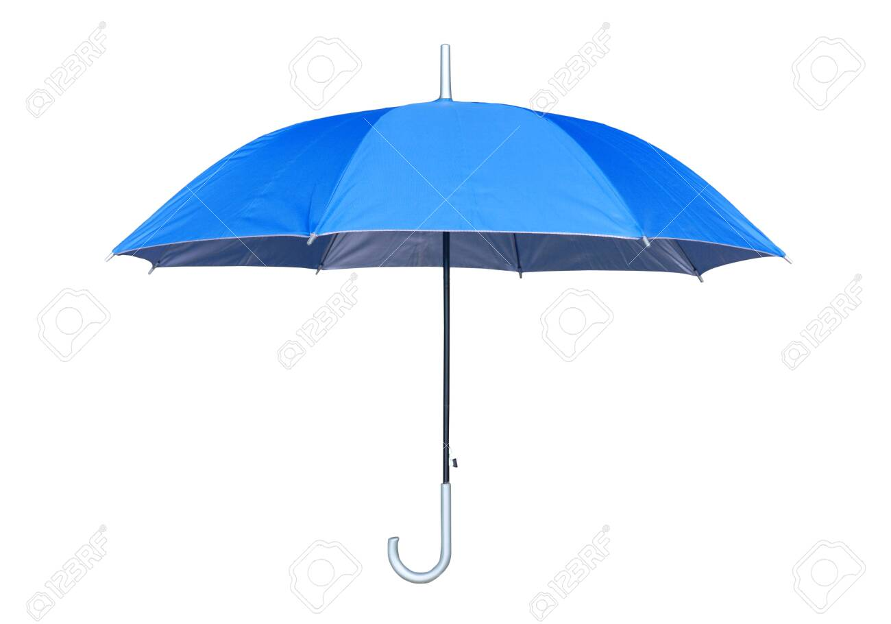 Blue umbrella isolated on white background. Side view. - 139907905