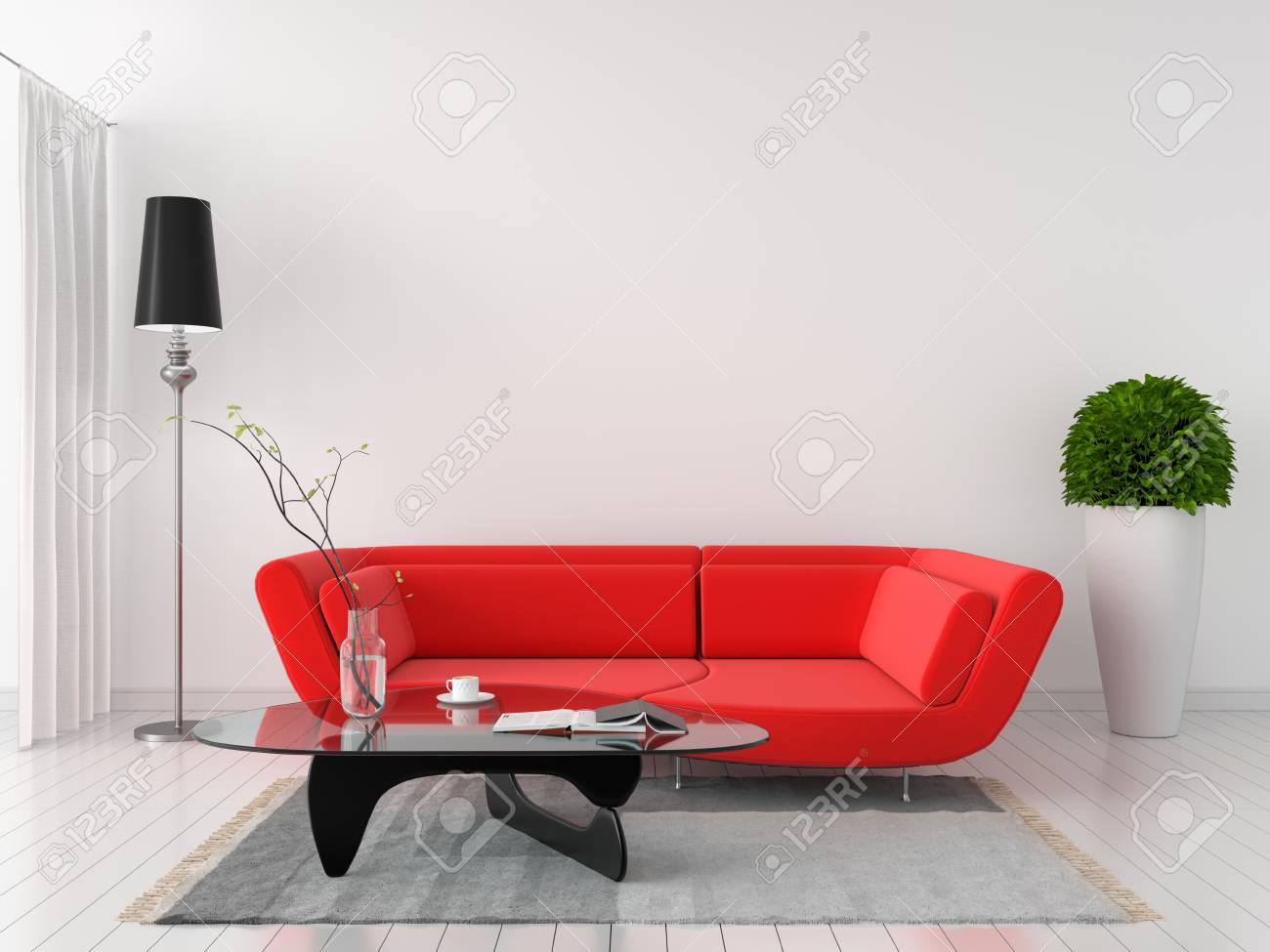 red modern sofa in white room interior, 3D rendering