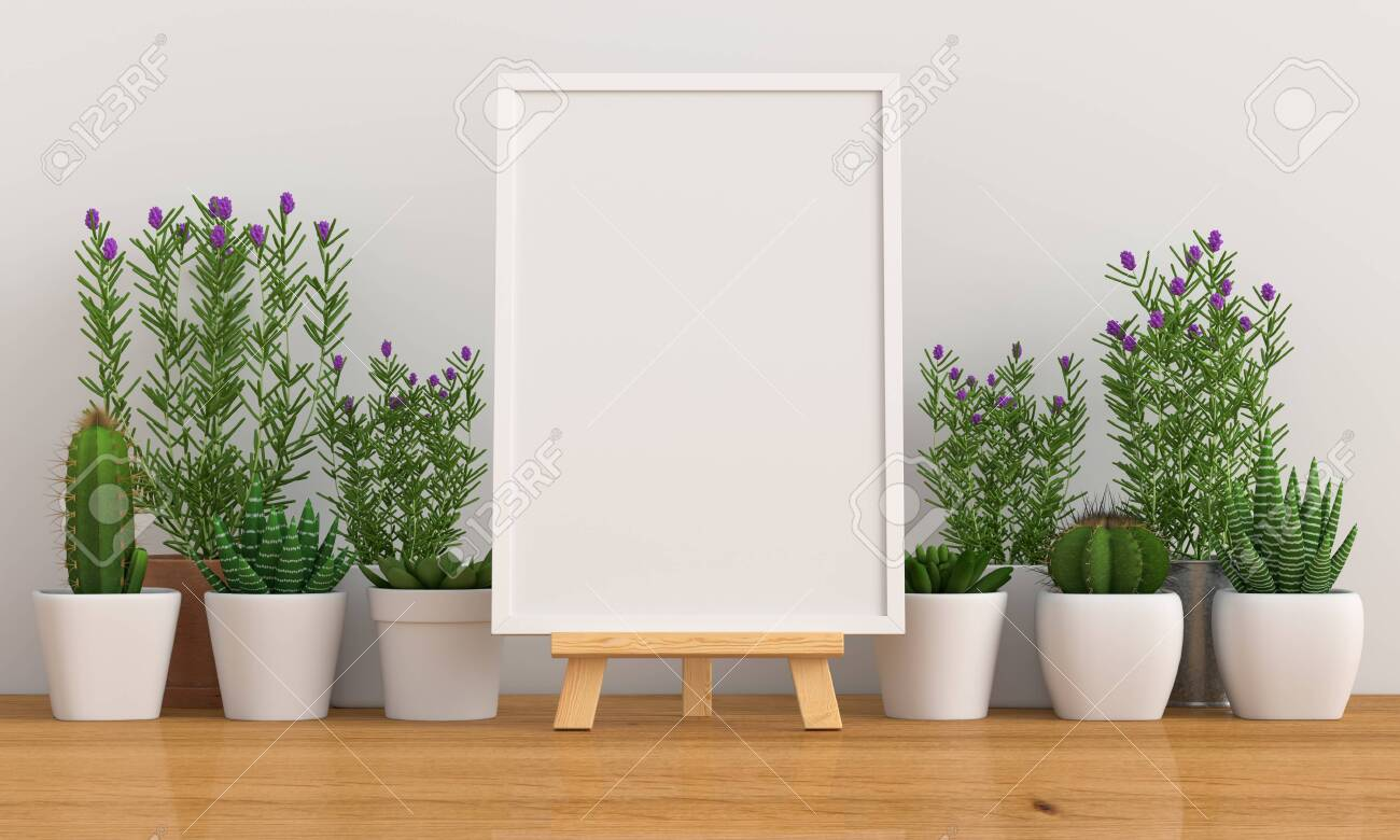 Blank photo frame for mockup with cactus and flower on floor, 3D rendering - 124135310