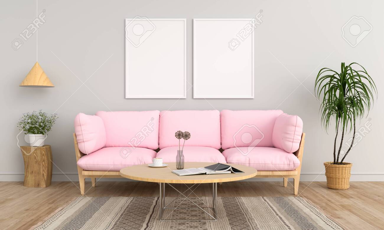Two Blank Photo Frame For Mockup And Pink Sofa In Living Room Stock Photo Picture And Royalty Free Image Image 129217416