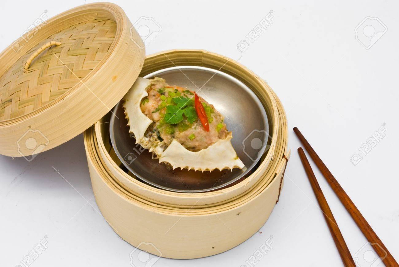 archivio fotografico cinese al vapore dimsum granchio in cucina tradizionale contenitori di bamb
