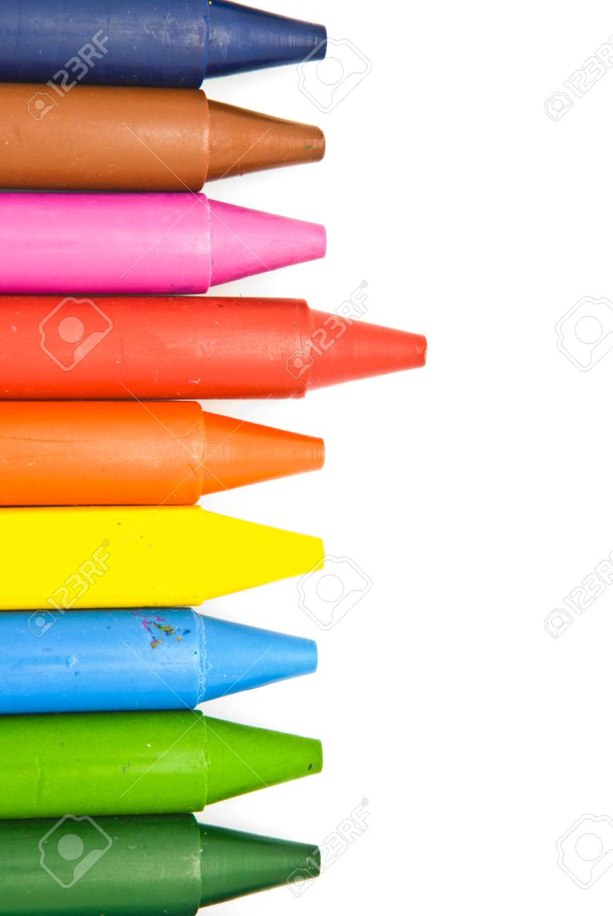 Wax crayons on white background Stock Photo - 9529376