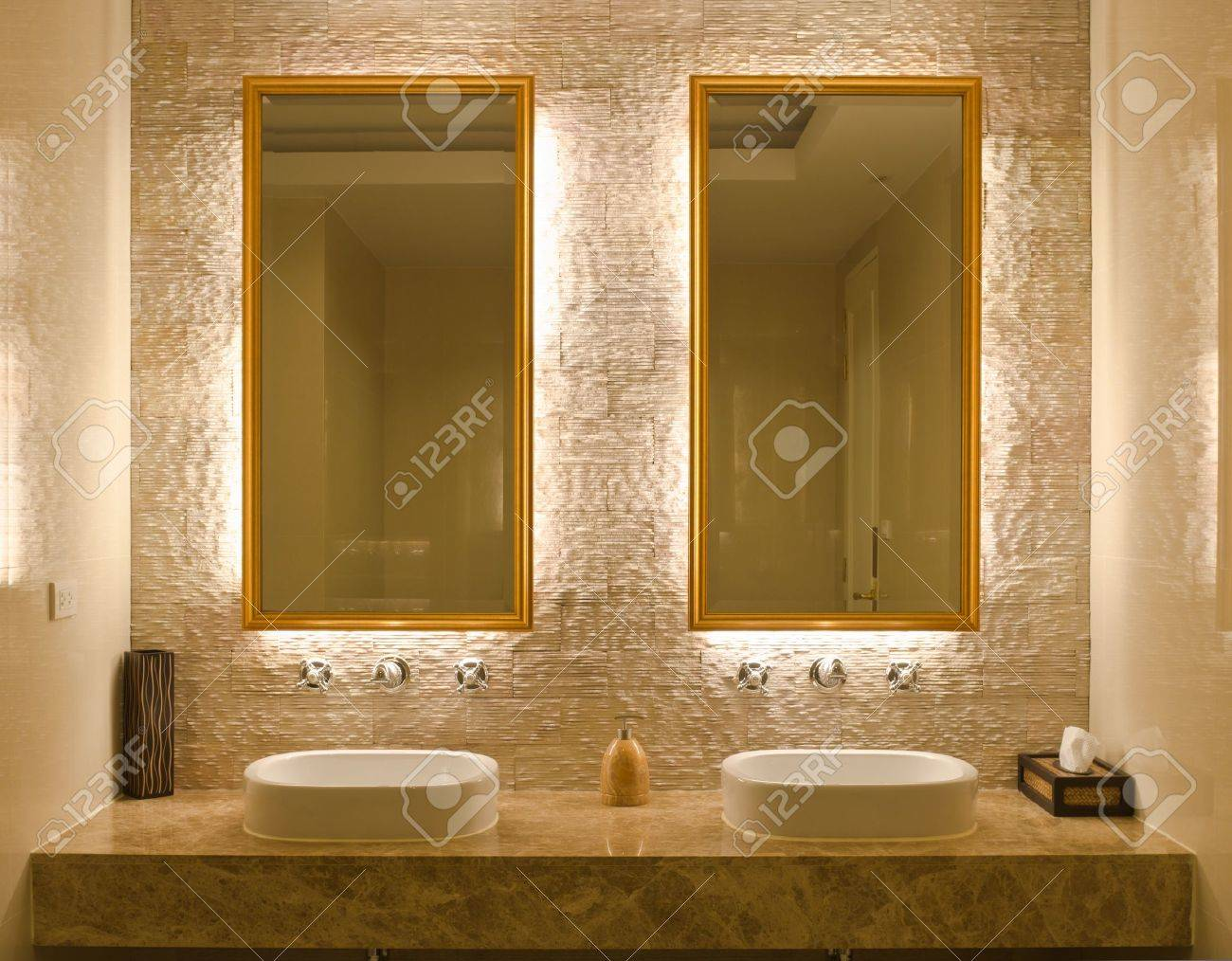 modern style interior design of a bathroom stock photo picture