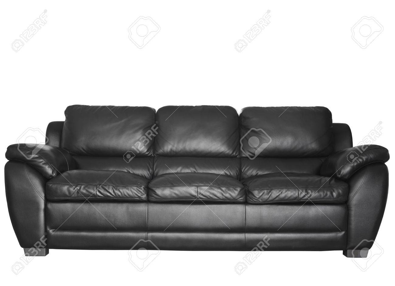 Image of a modern black leather sofa isolated against white background Stock Photo - 13172343