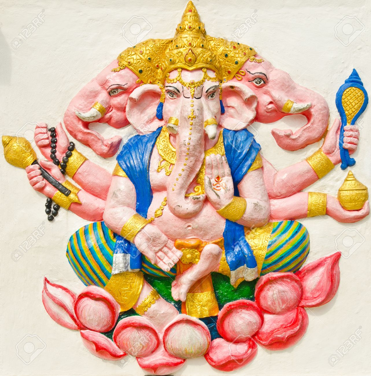 God of success 29 of 32 posture. Indian style or Hindu God Ganesha avatar image in stucco low relief technique with vivid color,Wat Samarn, Chachoengsao,Thailand. Stock Photo - 14834081